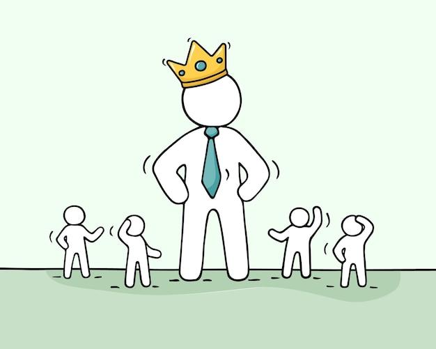 リーダーとのチームワークについての王冠doodleコンセプトで働く小さな人々と大ボスのスケッチ