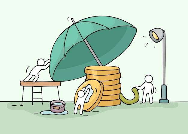 Эскиз рабочих маленьких людей, спасающих стопку монет, зонтик. doodle симпатичная миниатюрная работа в команде об экономии денег. нарисованная рукой иллюстрация вектора шаржа для дизайна бизнеса и финансов.