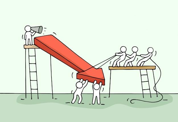 下向き矢印、チームワークで働く小さな人々のスケッチ。