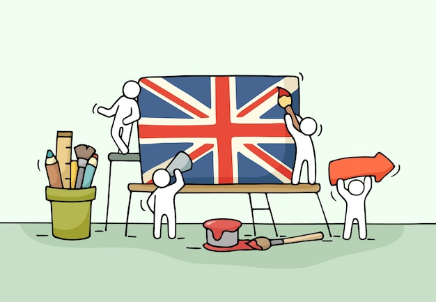 英国の旗を持つ小さな労働者のスケッチ。ユニオンジャックで労働者のかわいいミニチュアシーンを落書き。デザインとインフォグラフィックの手描き漫画イラスト。