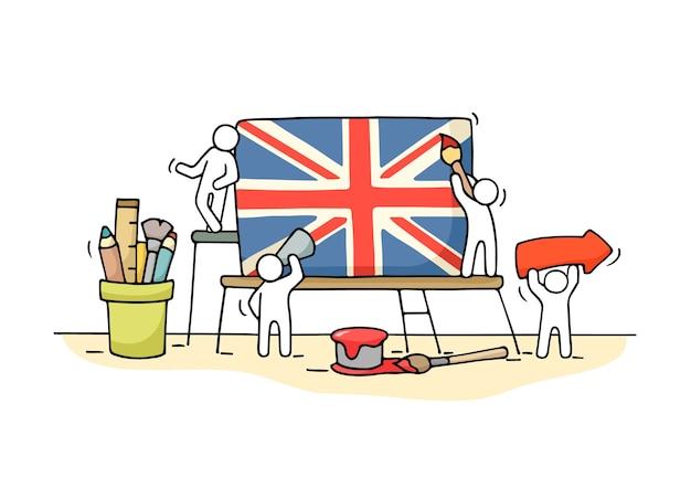 英国の旗を持って働く小さな人々のスケッチ。ユニオンジャックで労働者のかわいいミニチュアシーンを落書き。デザインとインフォグラフィックの手描き漫画イラスト。