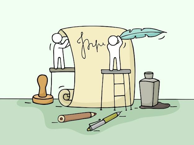 ドキュメントで働く小さな人々のスケッチ。チームワークのかわいいミニチュアを落書き。ビジネスデザインとインフォグラフィックの手描き漫画イラスト。