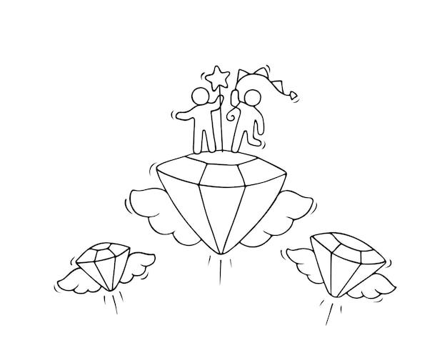 날아다니는 다이아몬드를 가지고 일하는 작은 사람들의 스케치.