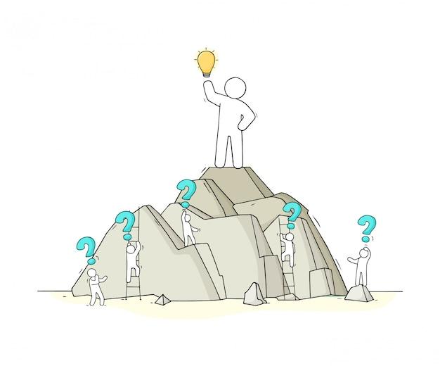 Эскиз рабочих маленьких людей с идеей лампы.