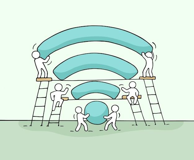 Эскиз работающих маленьких людей с сетевым сигналом.