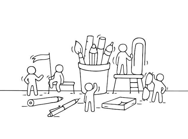 사무용품을 가지고 일하는 작은 사람들의 스케치. 편지지와 함께 노동자의 귀여운 미니어처 장면을 낙서. 비즈니스 디자인을 위한 손으로 그린 만화 벡터 일러스트 레이 션.