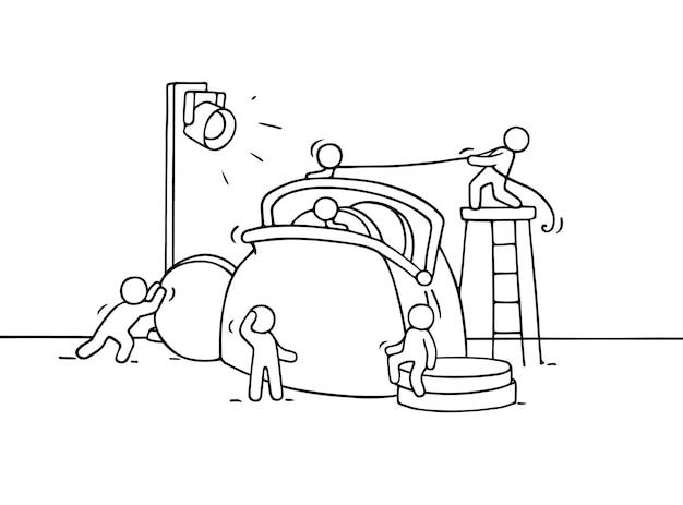 Эскиз рабочих человечков с кошельком