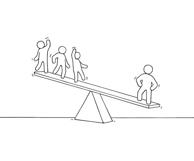 Эскиз рабочих маленьких людей с масштабом