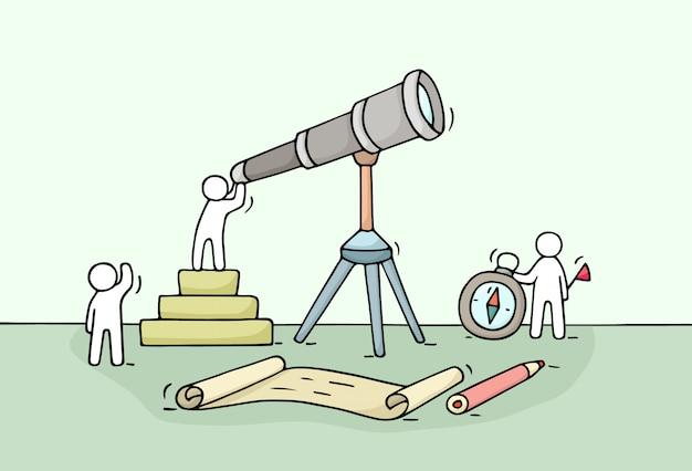 Эскиз работающих маленьких людей с подзорной трубой, работа в команде. doodle милая миниатюрная сцена работников открытия что-то.