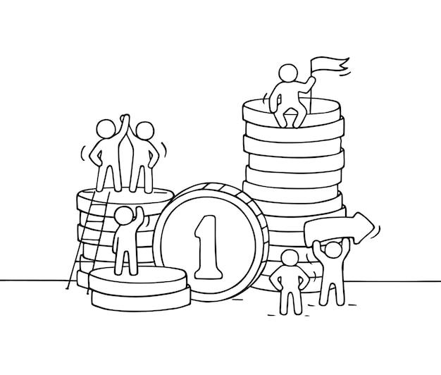 동전 더미와 함께 일하는 작은 사람들의 스케치 노동자의 귀여운 미니어처 장면을 낙서