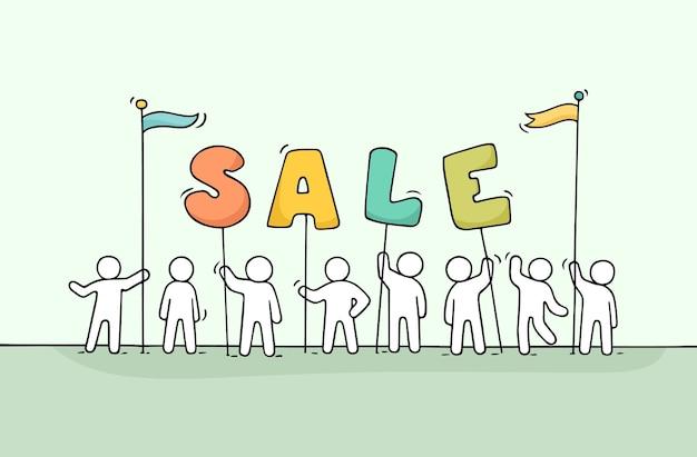 Эскиз рабочих маленьких людей с продажей слова.