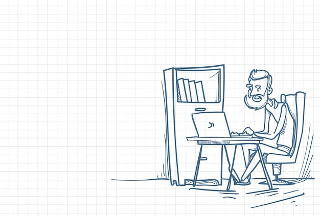 Sketch of an office working man