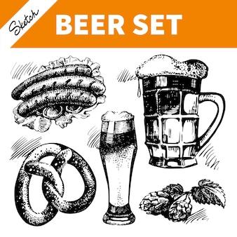 オクトーバーフェストビールのセットをスケッチします。手描きイラスト