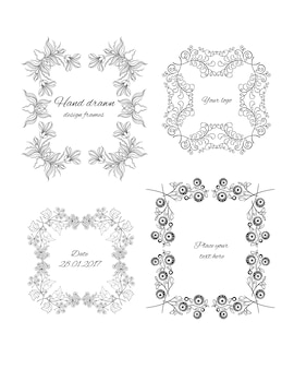 Sketch ornamental floral design frames set