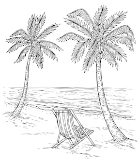 Sketch palm tree landscape. tropical palm beach, exotic trees and sea waves. vintage hand drawing  relaxing summer background