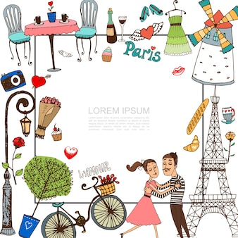 Sketch paris elements with couple in love illustration