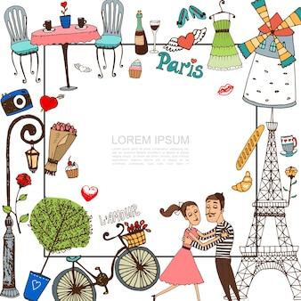 Elementi di parigi di schizzo con coppia nell'illustrazione di amore