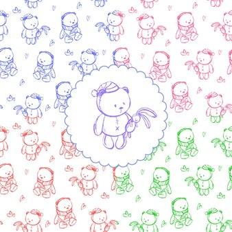 Набросайте выкройку с мишкой для детской открытки или детских магазинов. векторная иллюстрация.