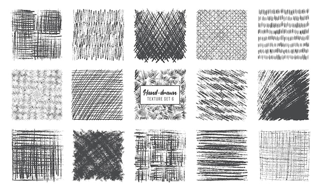 Sketch pencil texture set pen hatch effect black scribble chalk grunge freehand vector