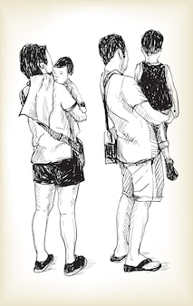 Sketch people's life image of cute littele daughter in young dad and mom hand