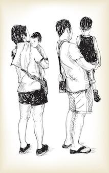 Нарисуйте образ жизни симпатичной маленькой дочери в руках молодого папы и мамы