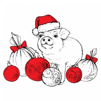 Sketch pig in santa's hat with christmas balls.