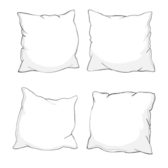 Sketch of pillow, art, pillow isolated