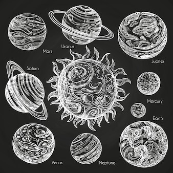 Sketch of planets of solar system on blackboard