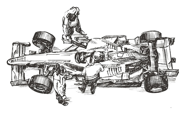 Sketch of racing team working at pit stop hand draw