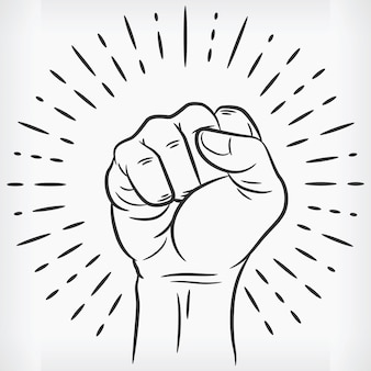 Sketch raised power fist clenched doodle