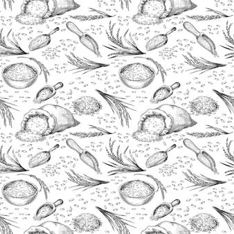 스케치 쌀 완벽 한 패턴입니다. 시리얼 이삭, 가방 및 그릇 곡물과 씨앗의 윤곽을 그립니다. 건강 한 아시아 음식, 쌀 손으로 그린 벡터 배경. 일러스트 농업 농업 자루, 원활한 패턴 곡물
