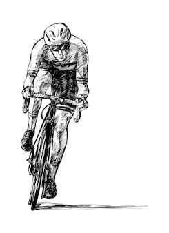 Sketch of the road bicycle rider hand draw
