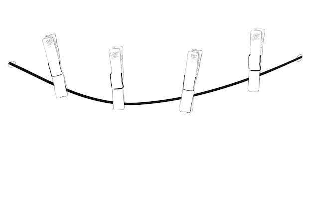 Эскиз веревки и булавки для ткани для подвешивания чего-то изолированного на белом