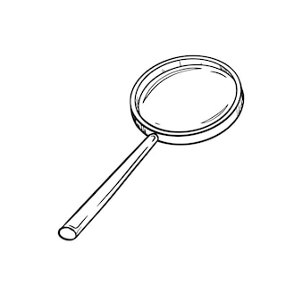 Sketch of a round old magnifying glass with a handle. search or look icon.hand drawn black white