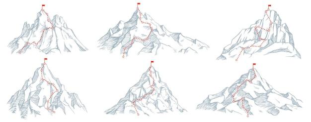 Sketch route to mountain peak set