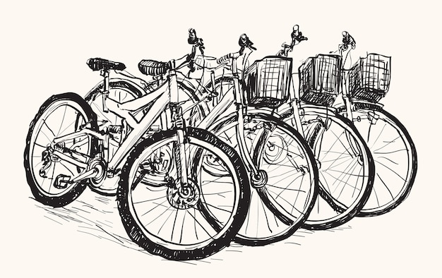 Sketch row of bicycle for sell or rent , free hand draw illustration