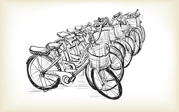 販売またはレンタル用の自転車の列をスケッチします
