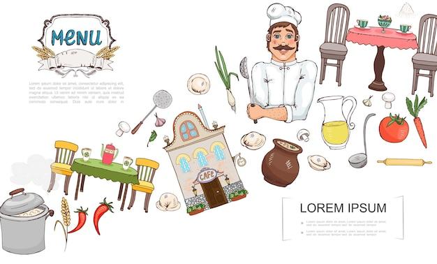 Schizzo il concetto di elementi di cucina russa con chef cafe costruzione verdure frumento orecchio gnocchi mestolo funghi succo tavolo sedie tazze caramelle illustrazione