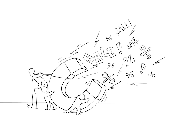 Sketch of sale concept . doodle cute miniature of teamwork and big magnet.