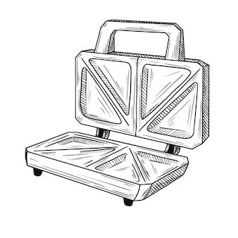 白い背景の上のサンドイッチトースターをスケッチします。スケッチスタイルのイラスト。 Premiumベクター