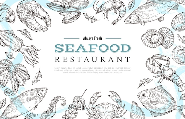 サンプルテキストテンプレートと魚のカニのロブスターサーモンの描画でシーフードフレームをスケッチします。