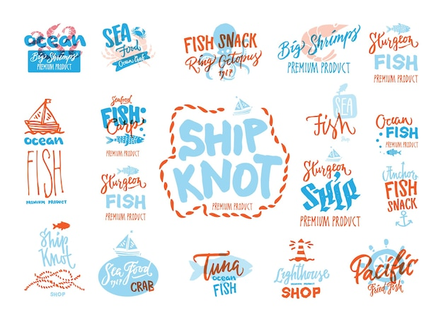 Sketch seafood premium logotypes set with handwritten inscriptions different marine animals