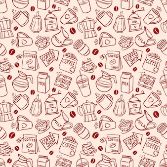 Sketch seamless background of coffee icons. hand-drawn illustration