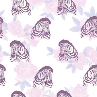 Sketch seamless pattern with wild animal zebra print silhouette