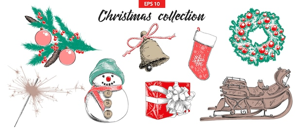 Sketch set christmas and new year holiday objects