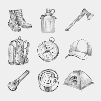 Sketch set of hand-drawn camping kit. set consists of boots, backpack, cap, tent, compass, water flask, flashlight, ax, canned food.