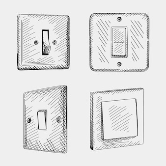 Sketch set of hand-drawn of switches. set includes toggle light switch turn on and off mode, european style rocker switch, leviton decora rocker switch