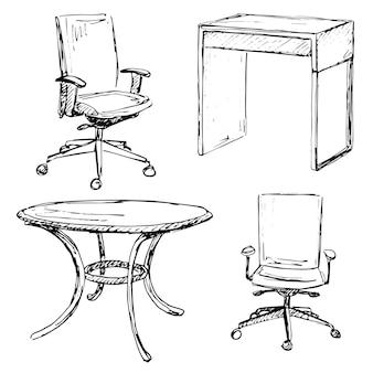 Эскиз набор изолированной мебели. разные стулья и стол. линейная черная мебель на белом фоне. векторная иллюстрация.