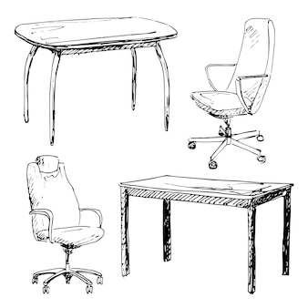 Sketch set isolated furniture. different chairs and table. linear black furniture on a white background. vector illustration.