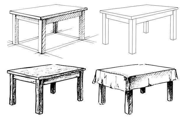 セットの隔離された家具をスケッチします。さまざまなテーブル。白い背景の上の線形の黒いテーブル。ベクトルイラスト。